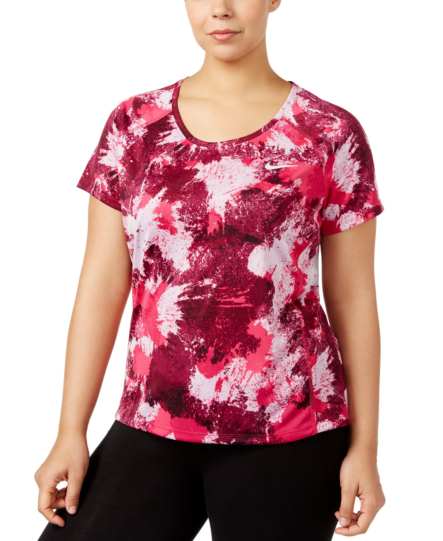NIKE Women's Plus Size Dry Miller Running Shirt (True Berry, 2X)