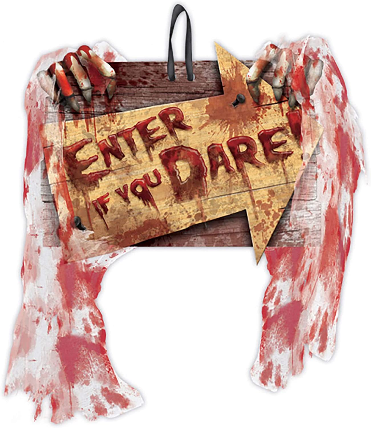 amscan | Halloween Trick or Treat Party Decoration | Enter If You Dare Creepy Carnival Sign | measures 9