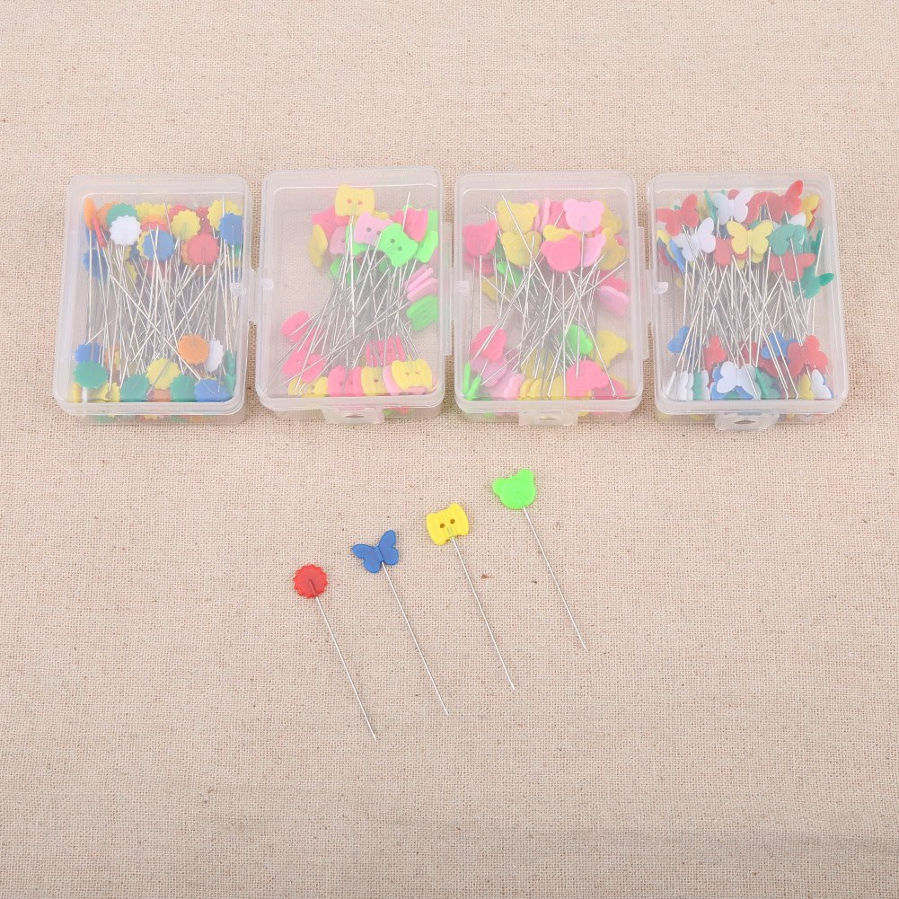 FTVOGUE 300PCS Head Pins Flower Bear Flat Button Hand Sewing Needles DIY Craft Tools with Box Type 1