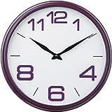 Premier Housewares 2200708 Horloge Murale Cadre en Plastique Violet