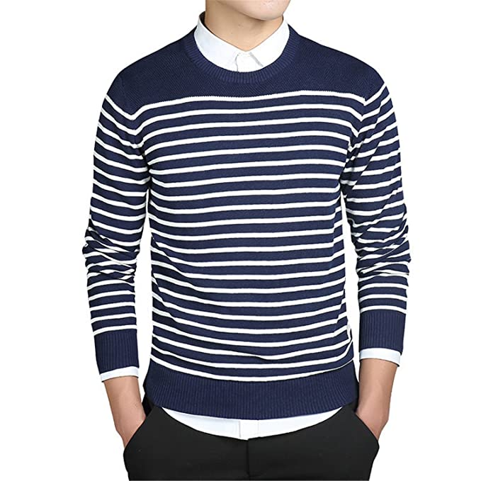 a384be428f B dressy Handsome and Silm Mens Sweater Pullover Coat Long Sleeve Standard  Thick Striped O Neck