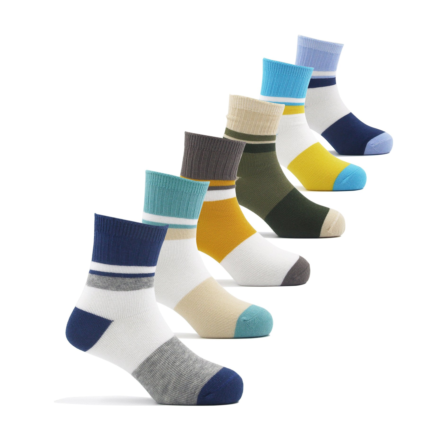 Big Boys Cotton Seamless Socks Crew Atheletic Sport Socks for Kids 6 Pack 10T/11T/12T/13T by HowJoJo (Image #1)