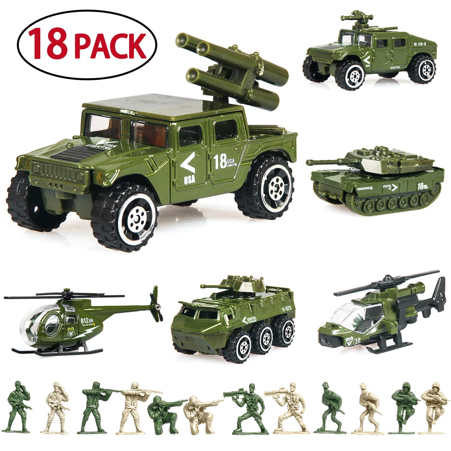 18 Pack Die-cast Military Vehicles Sets
