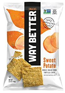 Way Better Snacks Sprouted Gluten Free Tortilla Chips, Simple Sweet Potato, 5.5 Ounce (Pack Of 12)