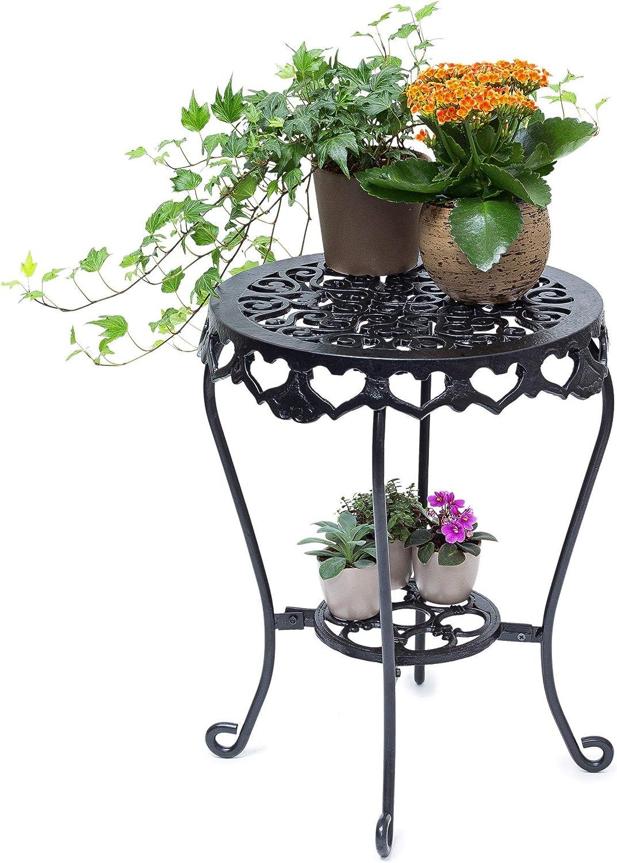 Relax días de la flor taburete redondo talla L HBT hierro fundido de aproximadamente 51 x 40 x 40 cm flor de pie con la tabla 2 estantes para las flores y la decoración en el hogar y el jard