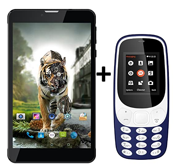 IKALL N5 Tablet with K3310 Mobile Phone Combo (Black, Dark Blue) at amazon