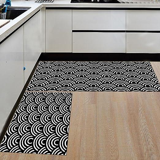 Levoberg 2 Pi/èces Tapis Cuisine Antid/érapant Absorbant Tapis de Sol Devant Evier Lavable 40 120cm #1 60+40