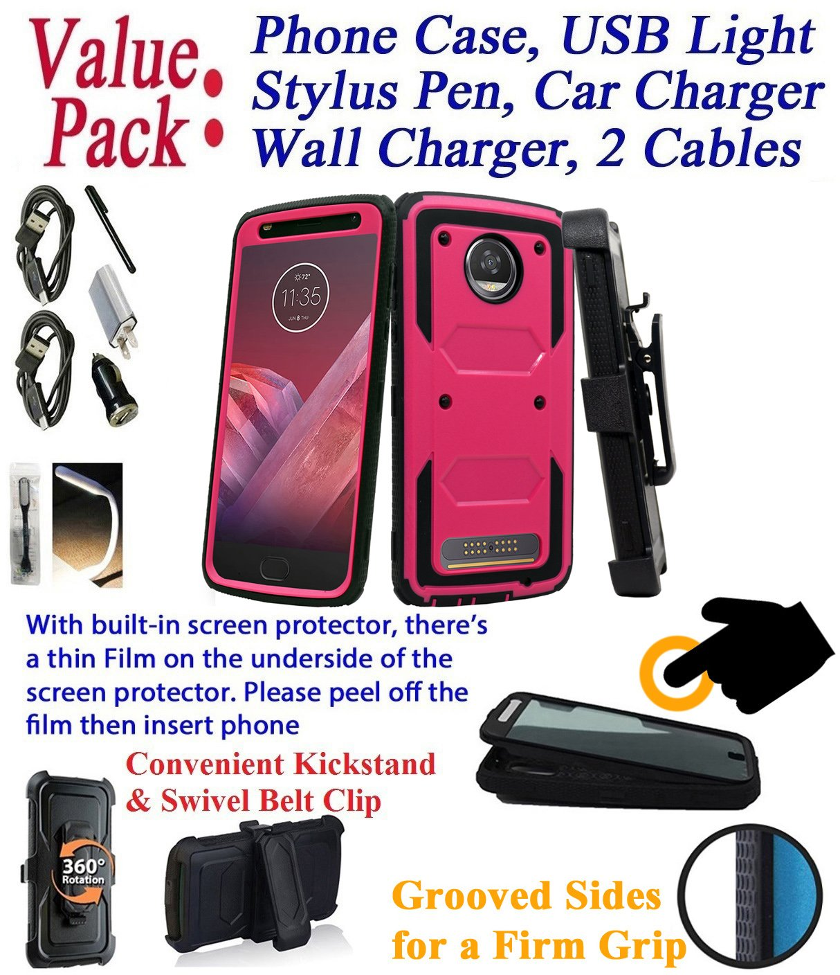 Value Pack + for 5.5'' Motorola moto Z2 Play Z2 Force z2play z2force case Phone Case 360° Cover Screen Protector Clip Holster Kick Stand Grip Sides Armor (Pink)