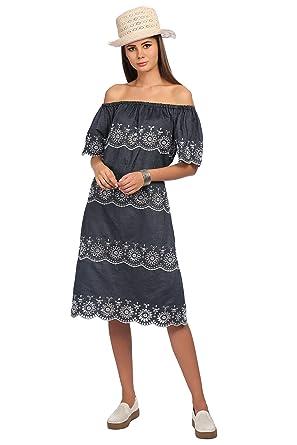 835df99aa34 veronique Women's Blue Denim Half Sleeve Knee Length Regular Off Shoulder  A-LINE Printed Dress: Amazon.in: Clothing & Accessories