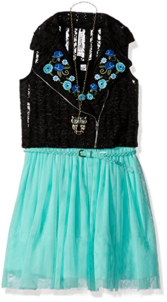 Beautees Girls Big 2 Piece Sleeveless Dress with Embroidered Moto Vest