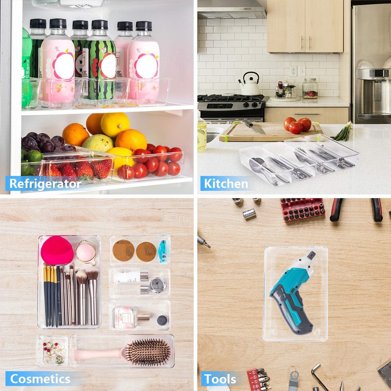 JARLINK 12 Pack Desk Drawer Organizer Trays with 4 Different Sizes Craft Makeup Kitchen Office Supplies Versatile Clear Drawer Organizers Storage for Bathroom Bedroom