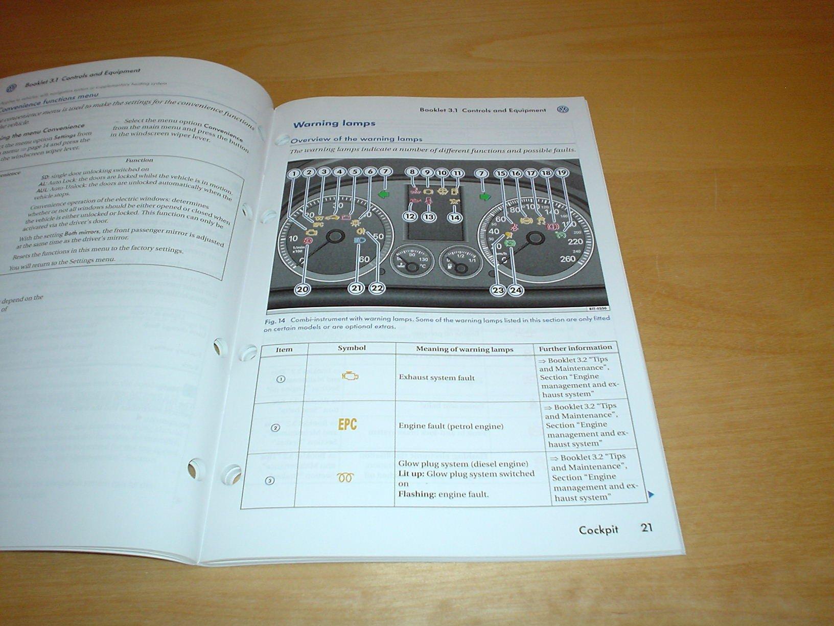 Volkswagen Touran Owners Manual Handbook C W Wallet 2003 2007 Vw Wiring Diagram Pdf 16 20 Litre Petrol 19 Tdi Diesel Engine 17 Sdi