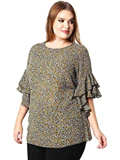 26293b813 Lovedrobe GB Women's Plus Size Mustard Yellow Double Frill Sleeve Floral Top