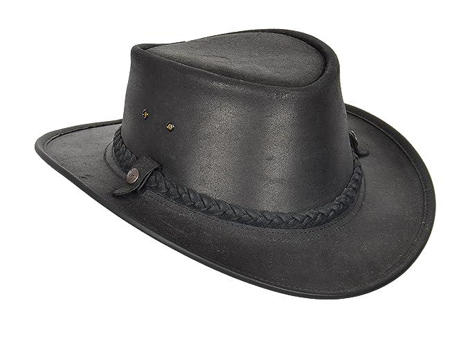 291ec5e2546 Original Bush Leather Hat Authentic BC Hat Cowboy Outback Style Steer Hide  Made In Australia Black
