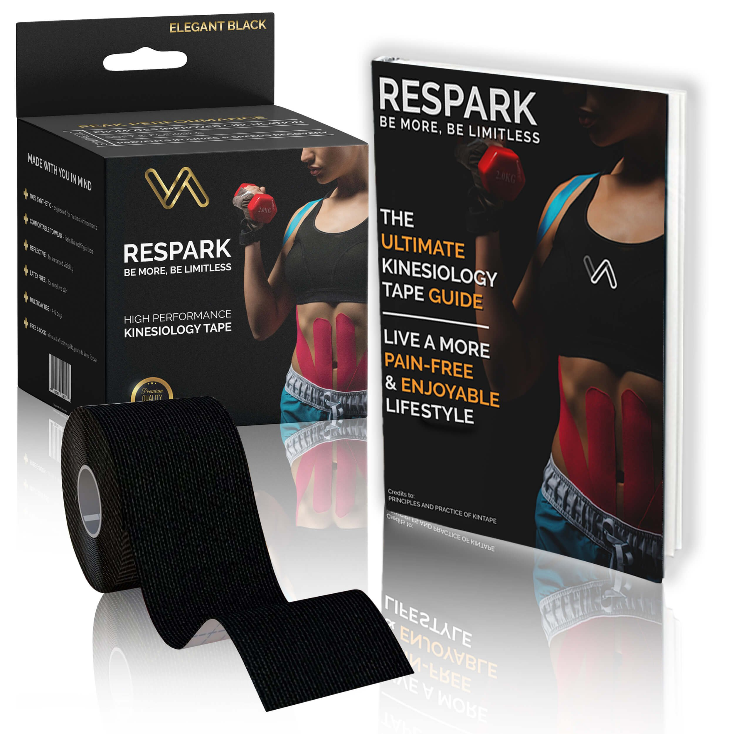 Kinesiology Tape by Respark Athletics, 5cm x 5cm Roll Uncut, 100% Synthetic Water Resistant, Reduce Pain, Sport Therapeutic Aid & Injury Recovery, Includes Ultimate Step by Step E-Guide, Best Tape