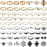 PANTIDE 67Pcs Vintage Knuckle Rings Set Stackable Finger Rings Midi Rings for Women Bohemian Hollow Carved Flowers Gold…