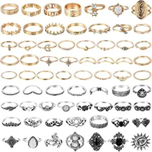 PANTIDE 67Pcs Vintage Kunckle Rings Set Stackable Finger Rings Midi Rings for Women Bohemian Hollow Carved Flowers Gold&Silver Rings Crystal Joint Rings with Storage Bag