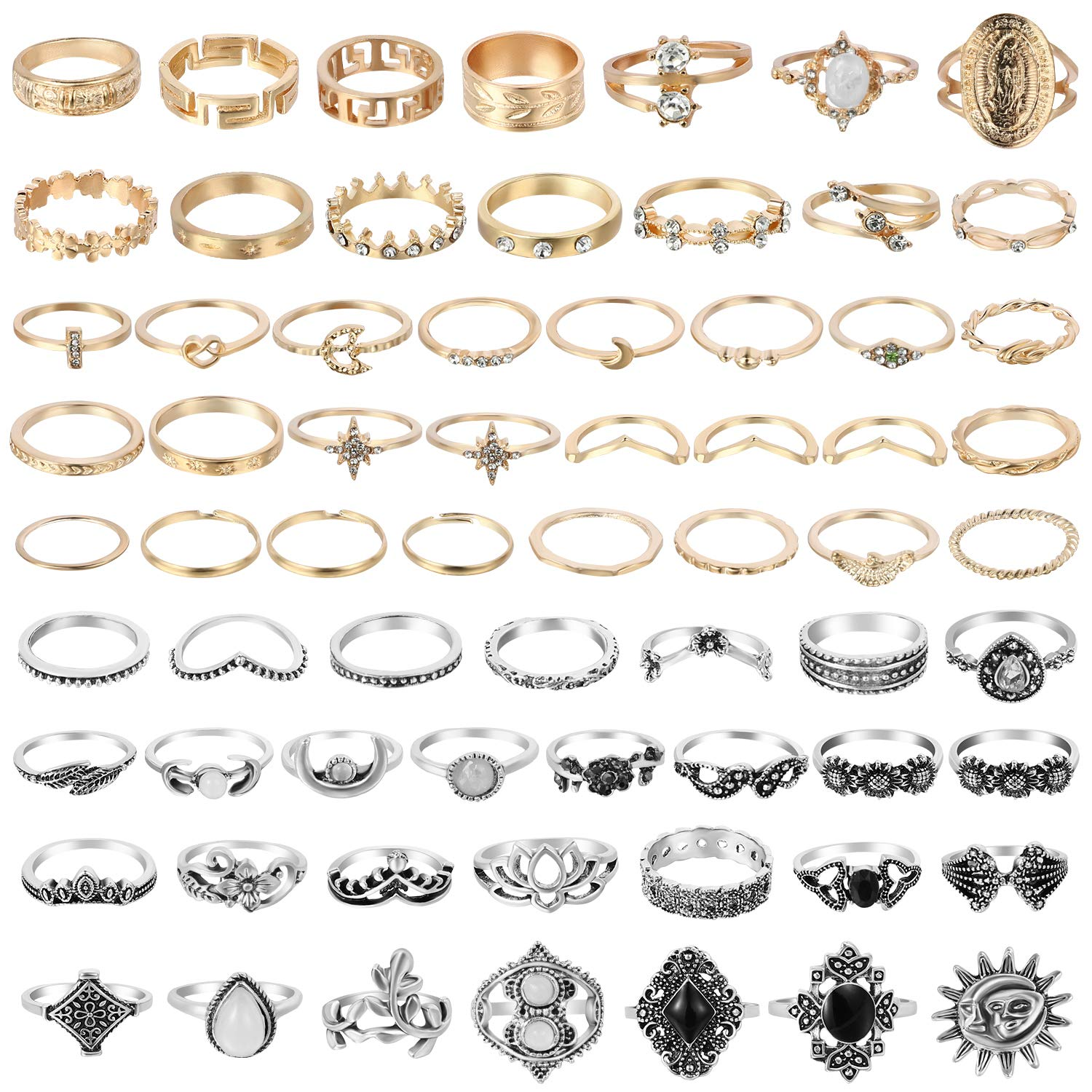 67Pcs Vintage Knuckle Rings Set Stackable Finger Rings Midi Rings for Women Bohemian Hollow Carved Flowers Gold&Silver Rings Crystal Joint Rings with Storage Bag