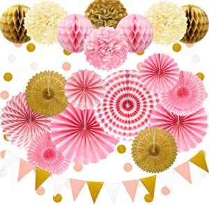 Marwey 23Pcs Paper Fan Party Decoration, Pink and Gold Hanging Paper Fans, Pom Poms Flowers, Garlands String Polka Dot and Bunting Flags for Spring, Girls Birthday Parties,Baby Showers, Wedding