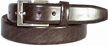 Bombierter Herren Anzug Gürtel in Braun 3,5 cm Breite Rindleder-Gürtel dezente silberne Gürtelschnalle- Individuell kürzbar