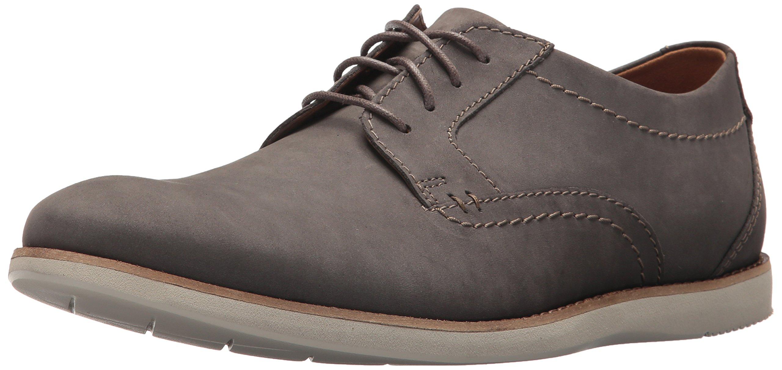 Clarks Men's Raharto Plain Shoe, grey nubuck, 10 Medium US