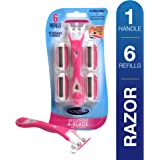 Noxzema Spa 4-Blade Razor Handle and 6 Refill Cartridges; 4-Blade Razor Offers Long-Lasting Smoothness; Pivoting Head Adjusts to Fit Delicate Curves; Features Premium Moisture Pad for Effortless Glide