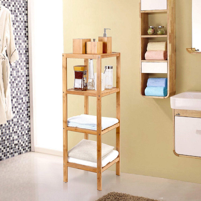 Amazon.com: HOMFA Bamboo Bathroom Shelf 4-Tier Tower Free Standing ...