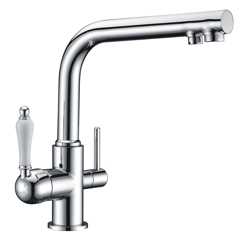Avola Tri Flow Kitchen Sink Tap, 3 Way Chrome Finish Solid