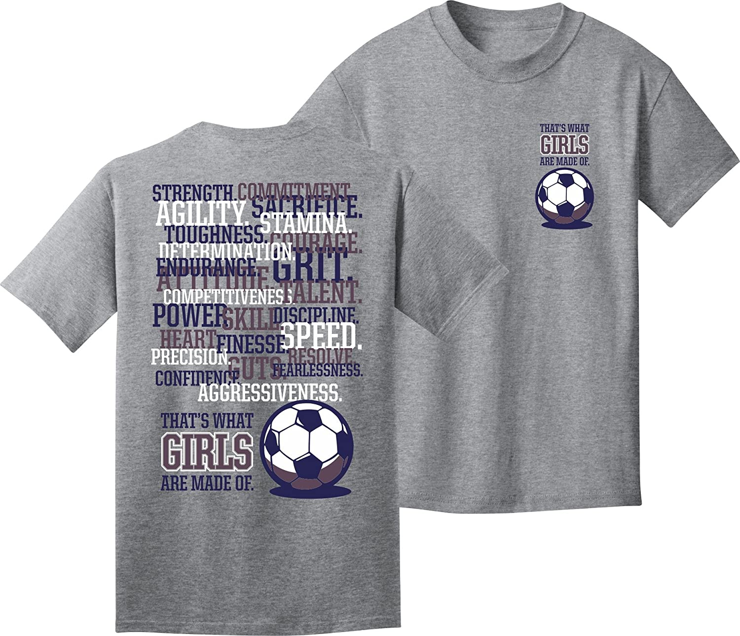 ガールズサッカーTシャツ: Girls Are Made of Soccer B00CBYUYJKグレー Youth Small