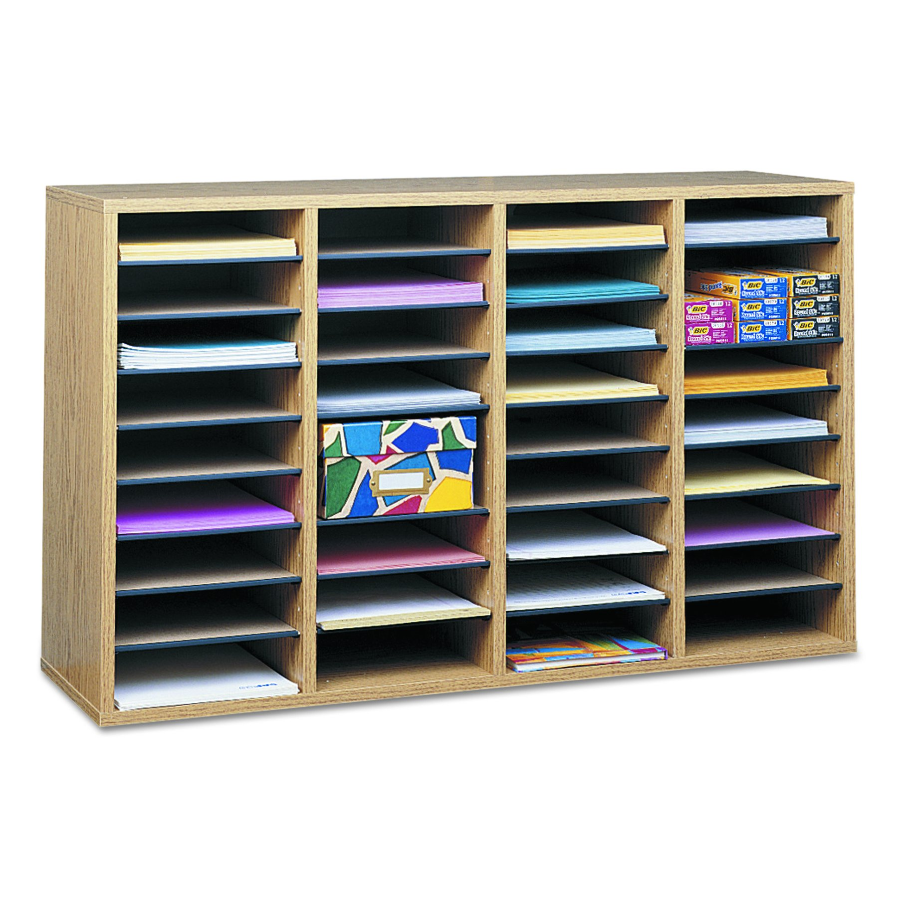 Safco Products 9424MO Wood Adjustable Literature Organizer, 36 Compartment, Oak by Safco Products (Image #2)