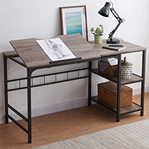 "OIAHOMY Home Office Desk 55"" Computer Desk, Large Draft Drawing Table with 2-Tier Shelf Multifunctional Study Writing Table, Tiltable PC Laptop Desk Workstation Modern Art Craft Desk -Grey Oak"
