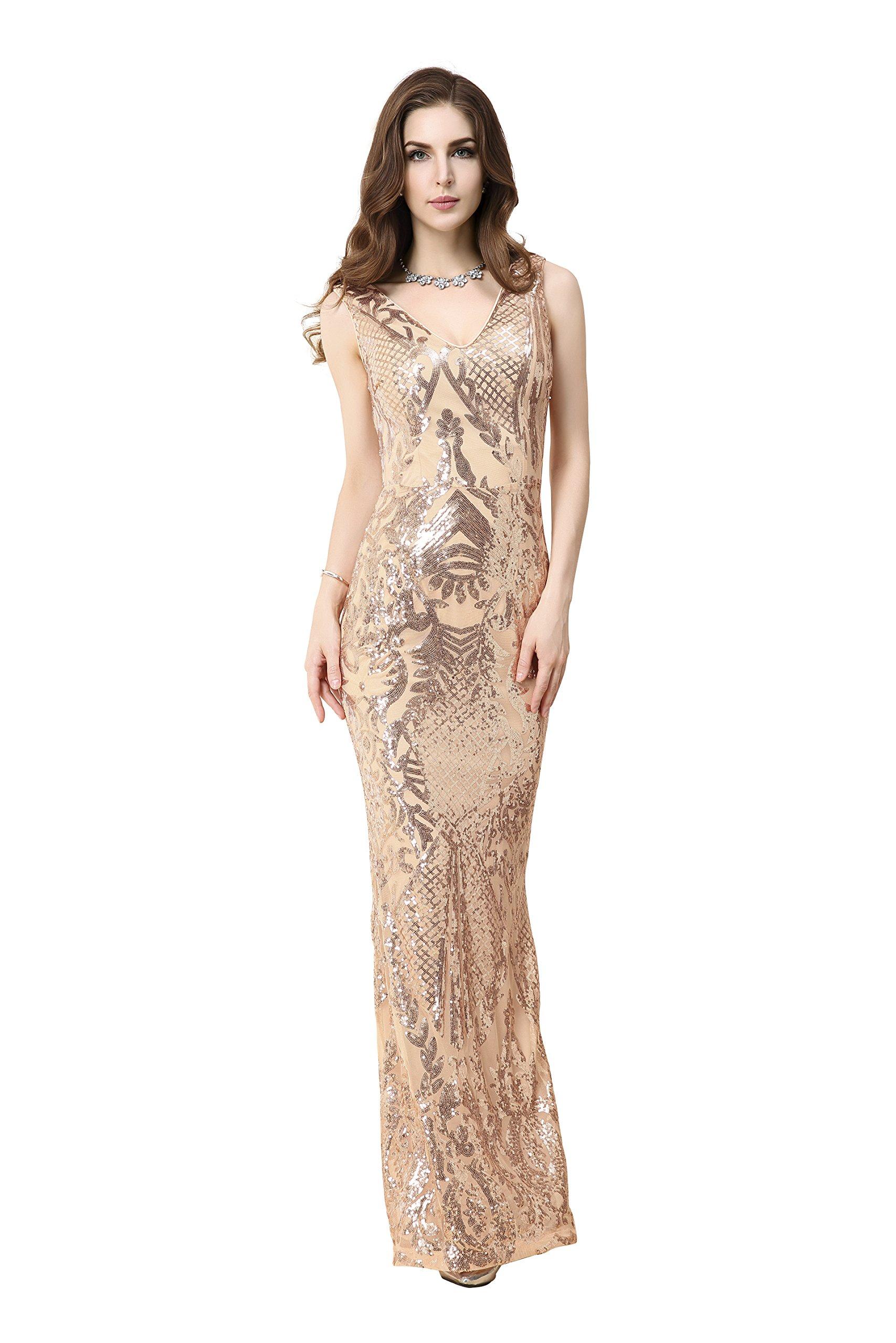 a64b04a569fd Matouyigui Women's Elegant Golde Evening Party Dress (XXXXX-Large, Gold)