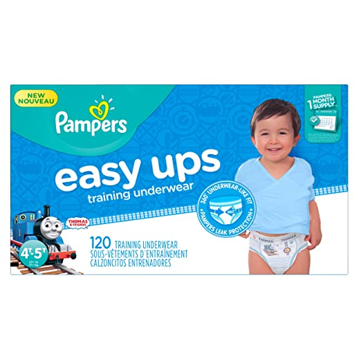 Pampers Easy Ups Training Pants Pull On Disposable Diapers for Boys Size 6 (4T-5T), 120 Count, ONE MONTH SUPPLY