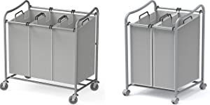 Simple Houseware Heavy-Duty 3-Bag + 2-Bag Laundry Sorter Cart, Silver