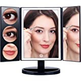 Amazon Price History for:MAKARTT XLarge Lighted Big Makeup Mirror 3X/5X/10X Magnifying Trifold Vanity Mirror White and Black