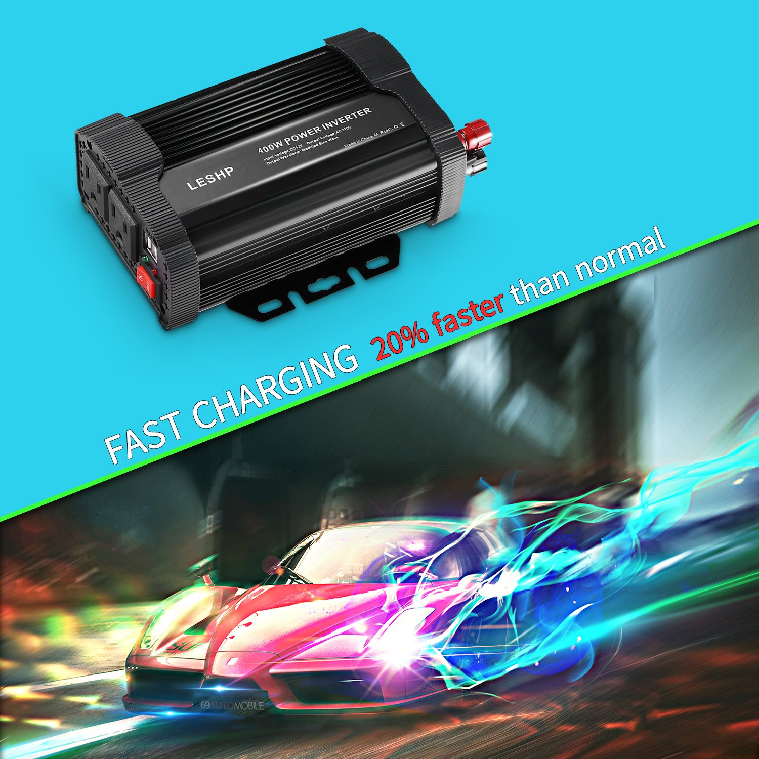 LESHP 400W Power Inverter DC 12V to AC 110V Car Adapter with 4.8A 2 USB Charging Ports by LESHP (Image #10)