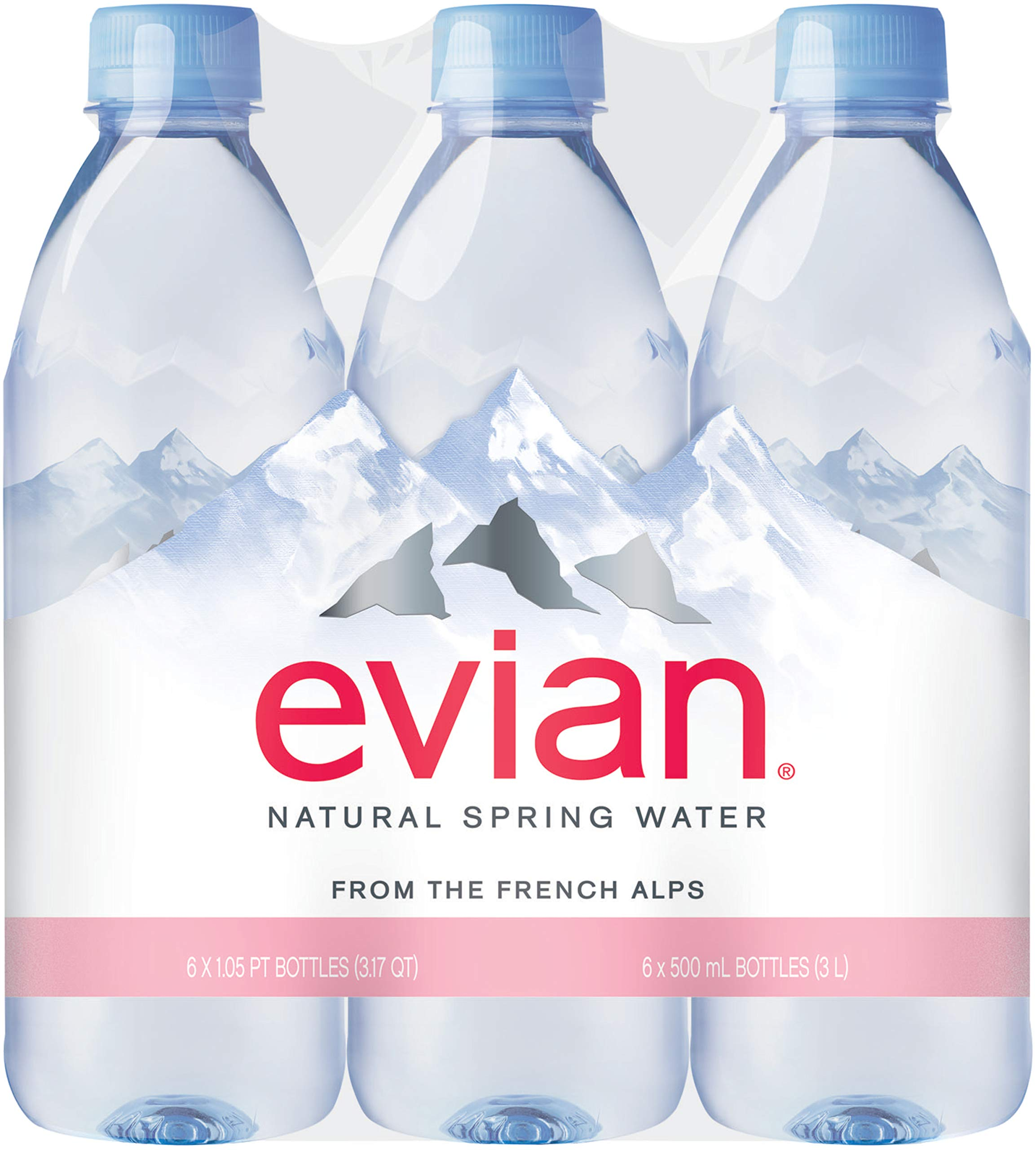 evian Natural Spring Water Bottled  in Individual-Sized Bottles, 16.9 Fl Oz (Pack of 6) by evian
