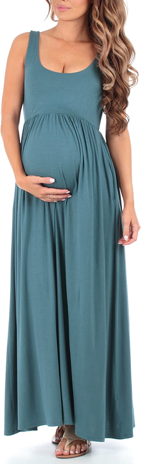 Made in USA Womens Sleeveless Ruched Maternity Dress with Pockets