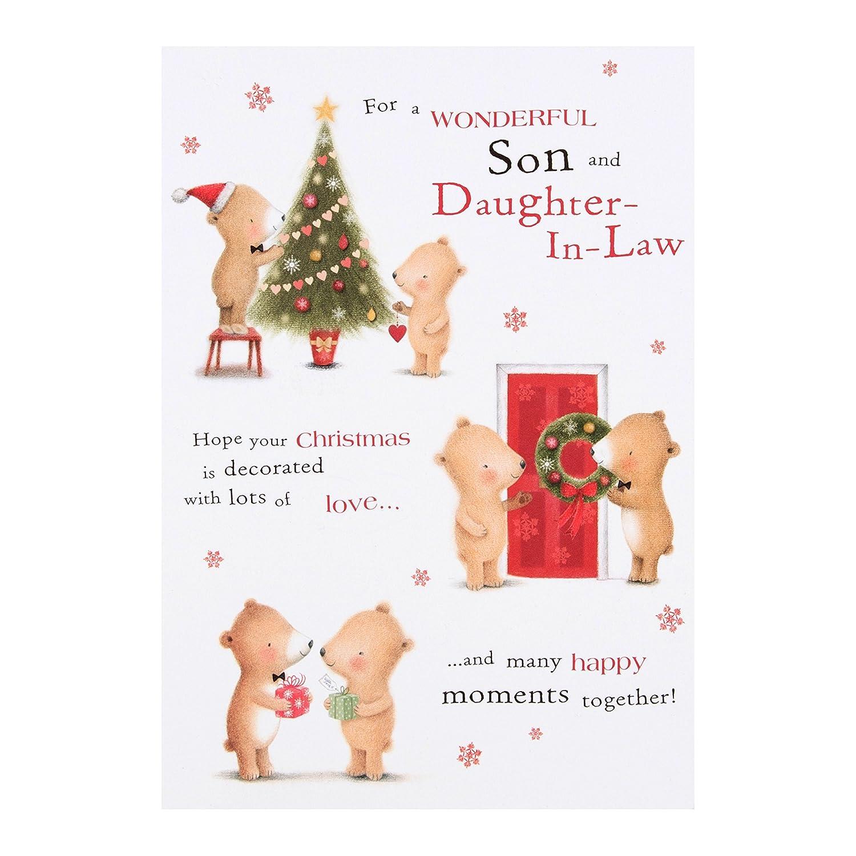 Amazon.com: Hallmark Son & Daughter-in-Law Christmas Card \'Best ...