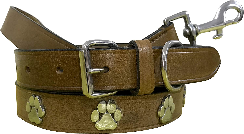 BRADLEY CROMPTON Juego de Correa y Collar para Perro Fabricado con Cuero Auténtico S