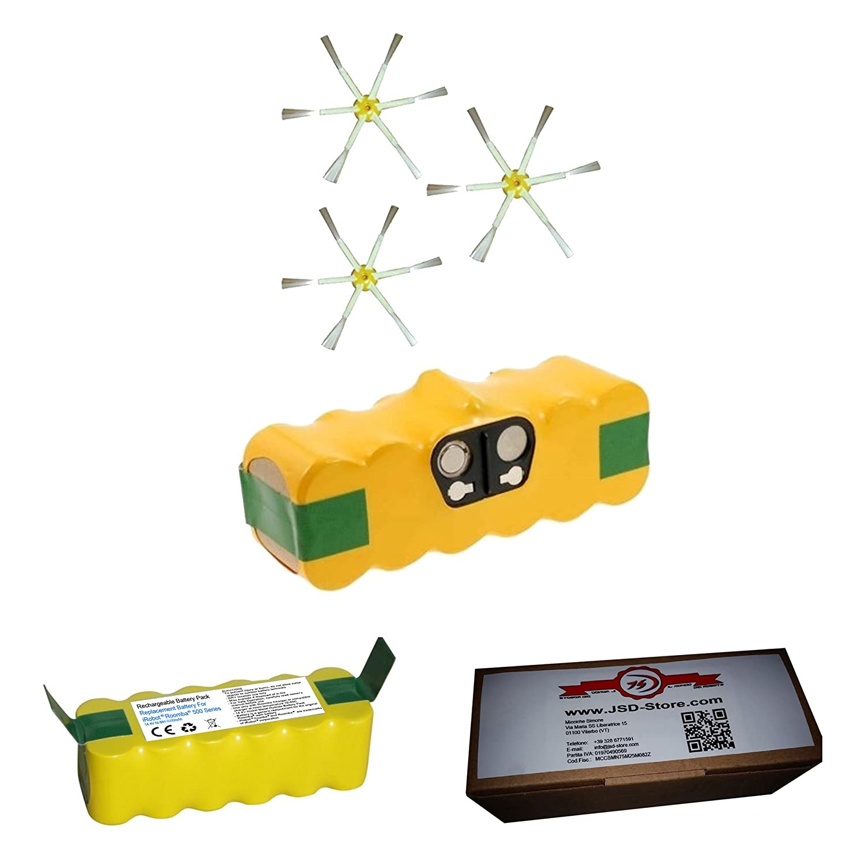 Batería para iRobot Roomba 4500 mAh + Cepillos laterales - para todas las le Serie 500 600 700 - Garantía JSD: Amazon.es: Electrónica