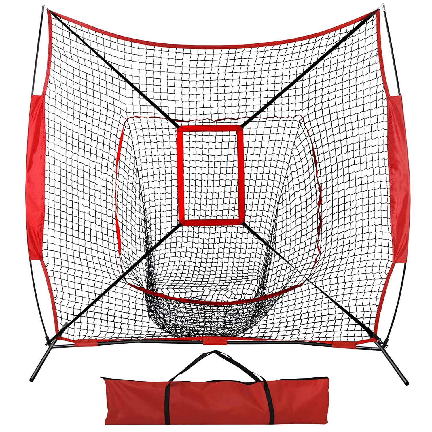 homgarden 7 x 7野球/ソフトボールネット、Pitching、Batting PracticeヒットとCatchingトレーニングAids w/Carry Bag 7'x7'w/bag & strike zone  B07CSP8SBG