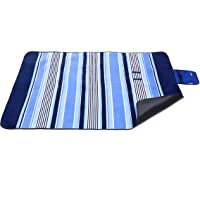 Michael Josh Extra Large Outdoor Picnic Blanket (Check Blue)