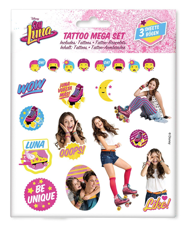 Craze 55442–Tattoo Mega Set Disney Soy Luna, 3Hojas, Colores Surtidos Craze_55442