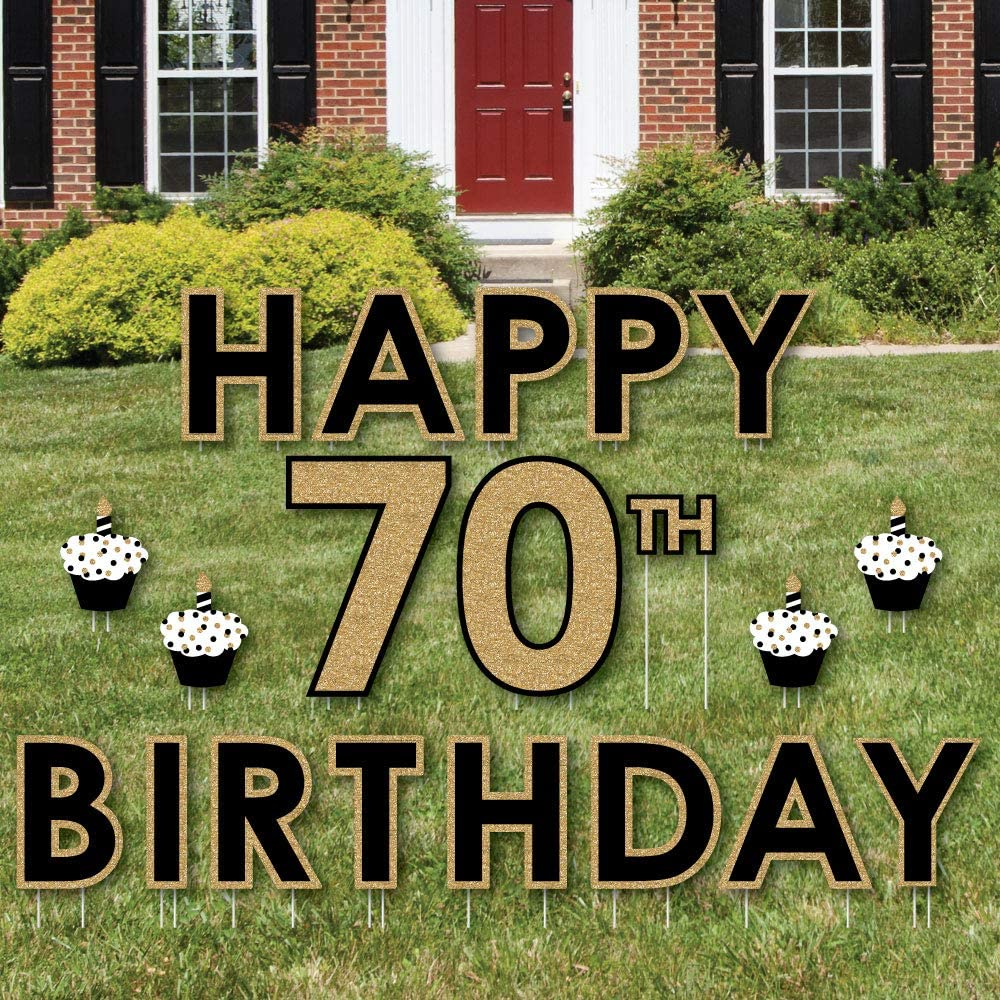 Amazon Com Big Dot Of Happiness Adult 70th Birthday Gold Yard Sign Outdoor Lawn Decorations Happy Birthday Yard Signs Garden Outdoor
