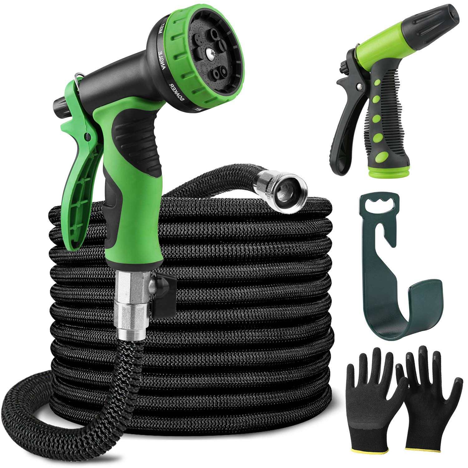 Ultimate Garden Hose Kit 50 ft Kink-Free Lightweight Heavy Duty with 2 Nozzle Sprayer Set with Hook and Gardening Gloves