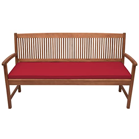 Beautissu Outdoor Bench Cushion Base Bk Comfortable Cushion 120 X 48 X 5 Cm 3 Seater Garden Bench Pad Red