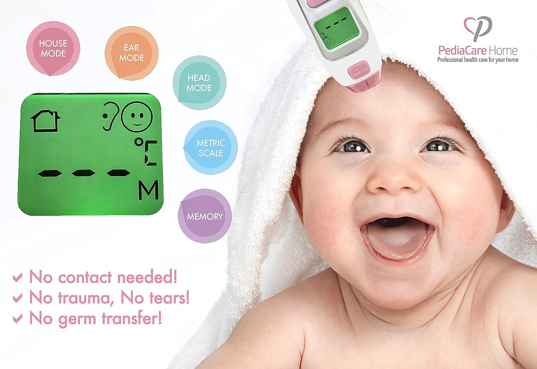Veloce e Semplice da usare Accurato approvato dai Pediatri Colore Rosa con Confezione Regalo PediaCare Termometro con Tecnologia Infrarossi Senza contatto Fronte e Orecchio per Bambino 2 in 1