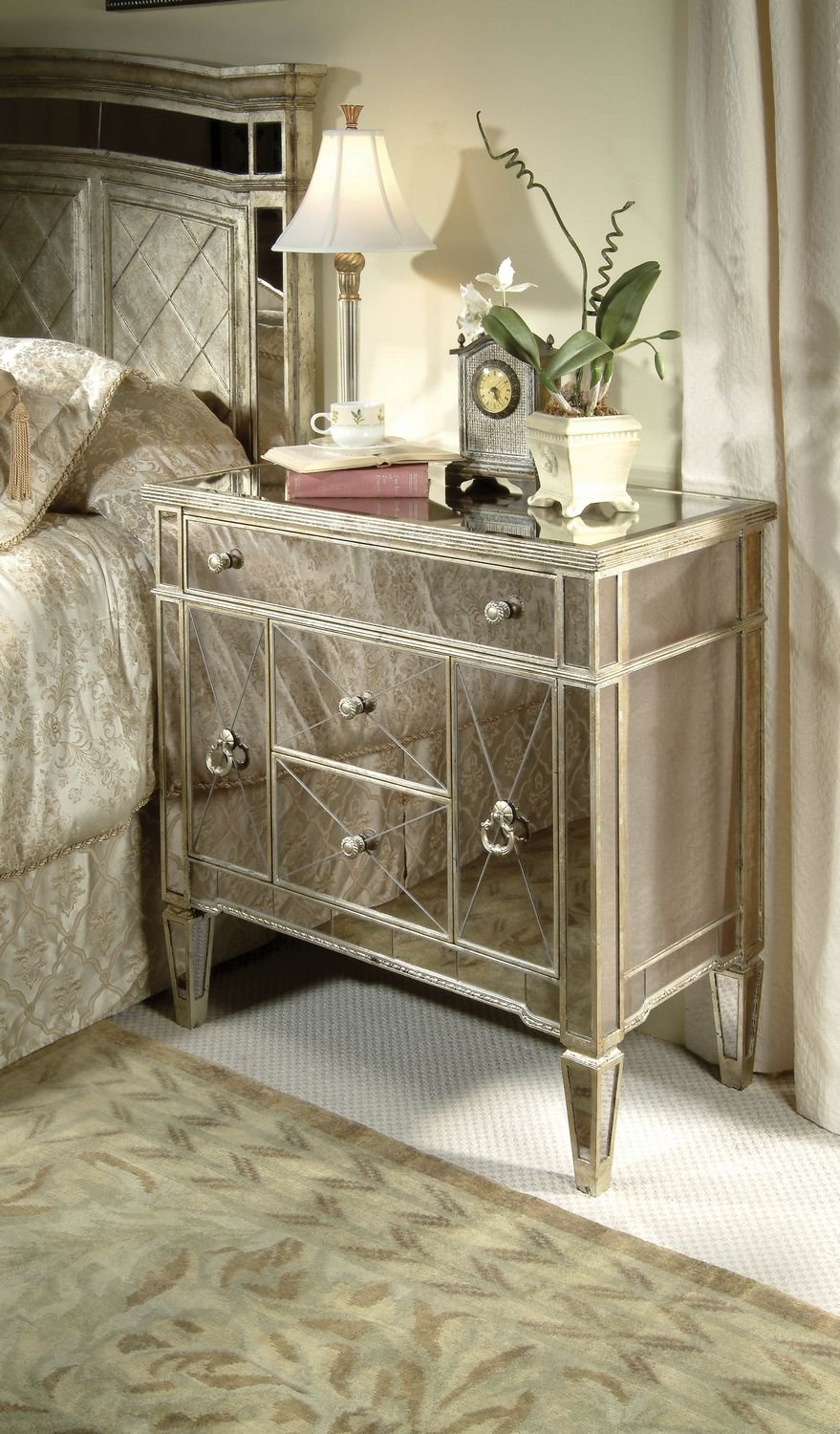 Amazon.com   Borghese Mirrored 3 Drawer Chairside Chest   Wall Mounted  Mirrors