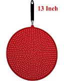 Silicone Splatter Screen Strainer with Handle / Strainer / Splatter Guard, Heat Tolerance, Anti Rust Durable Construction, Dishwasher Safe-Red, 13 Inch